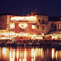 Crete. Rethymnon Harbor At Night by Steve Outram