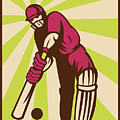 Cricket Sports Batsman Batting Retro by Aloysius Patrimonio