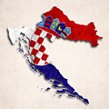 Croatia Map Art With Flag Design by World Art Prints And Designs