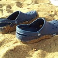 Crocs Shoes On Sandy Point Beach by Ben Schumin