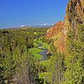 Crooked River And Mt Hood Oregon by Rich Walter