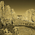 Crooked River At Smith Rock State Park Sepia by Rich Walter