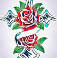 Cross And Roses Tattoo by Catherine Lott