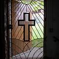 Cross On Church Door Open To Prison Yard by Karen Foley