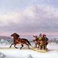 Crossing The Saint Lawrence From Levis To Quebec On A Sleigh by Cornelius Krieghoff