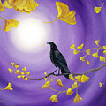 Crow In Ginkgo Leaves by Laura Iverson