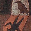Crow In The Doorway Of Life With Woad by Sophy White