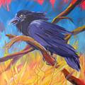 Crow In The Grass 5 by Pam Van Londen