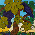 Crow With Wine On The Vine by Stacey Neumiller