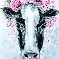 Crown Of Flowers Cow by Monique Faella