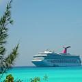 Cruise Ship At Half Moon Cay by Gary Wonning