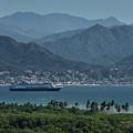 Cruise Ship Leaving Banderas Bay Puerto Vallarta Mexico With Sie by Reimar Gaertner