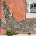 Crumbled Plaster Of An Orange Wall, Reflection Of A Boat In The Window by Stefan Rotter