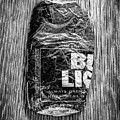 Crushed Blue Beer Can On Plywood 78 In Bw by YoPedro