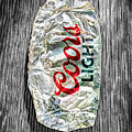 Crushed Light Silver Beer Can On Bw Plywood 79 by YoPedro