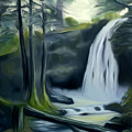 Crystal Falls In The Black Forest Dreamy Mirage by Claude Beaulac