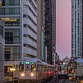 Cta Train On The L At Dusk Chicago Illinois by Jim Pearson