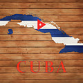 Cuba Rustic Map On Wood by Dan Sproul