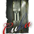 Cuban Flag On Door by Bob Salo