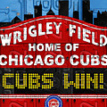 Cubs Win Wrigley Field Chicago Illinois Recycled Vintage License Plate Baseball Team Art by Design Turnpike