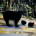 Cubs With Momma Bear - Dreamy Version - Black Bears by Jan Dappen