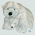 Cuddly Polar Bear Watercolor by Angeles M Pomata