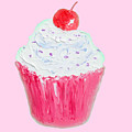 Cupcake Painting On Pink Background by Jan Matson