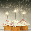 Cupcakes With Sparklers by Sandra Cunningham
