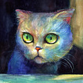 Curious Kitten Watercolor Painting  by Svetlana Novikova