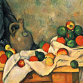 Curtain, Jug And Fruit by Paul Cezanne