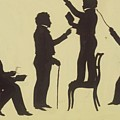 Cut Silhouette Of Four Full Figures 1830 by Edouart Auguste