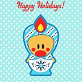 Cute Art - Blue Polka Dot Happy Holidays Folk Art Sweet Angel Bird In A Nesting Doll Costume Wall Art Print by Olga Davydova