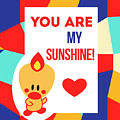 Cute Art - Sweet Angel Bird Multicolor Colorblock You Are My Sunshine Wall Art Print by Olga Davydova