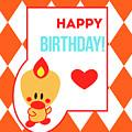 Cute Art - Sweet Angel Bird Terra Cotta Happy Birthday Circus Diamond Pattern Wall Art Print by Olga Davydova