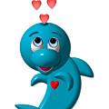 Cute Dolphin With Hearts by Rose Santuci-Sofranko