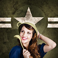 Cute Military Pin-up Woman On Army Star Background by Jorgo Photography - Wall Art Gallery