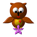 Cute Owl With Orchid by Rose Santuci-Sofranko