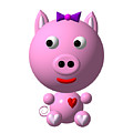 Cute Pink Pig with Purple Bow