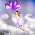 Cute Retro Pinup Girl Holding Heart Shaped Balloon by Jorgo Photography - Wall Art Gallery