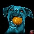 Cyan Boxer Mix Dog Art - 8173 - Bb by James Ahn