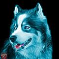 Cyan Modern Siberian Husky Dog Art - 6024 - Bb by James Ahn