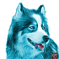 Cyan Modern Siberian Husky Dog Art - 6024 - Wb by James Ahn
