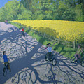 Cyclists And Yellow Field by Andrew Macara