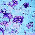 Da Vinci Flower Study Purple And Blue By Da Vinci by Tony Rubino