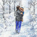 Dad And Child In The Winter Snow by Irina Sztukowski