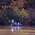Dad And Sons Fishing by Karen Silvestri