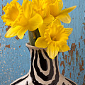 Daffodils In Wide Striped Vase by Garry Gay