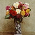 Dahlias In A Chinese Vase by Ignace Henri Jean Fantin-Latour
