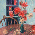 Dahlias With Red Cup by Donald Maier
