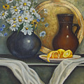 Daisy Stillife With Oranges by Ann Arensmeyer
